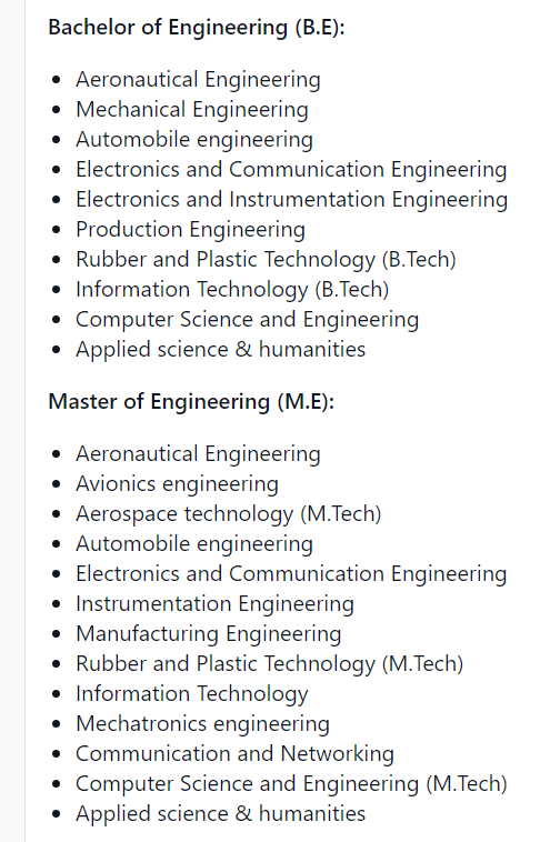 Madras Institute of Technology offers offers following programs in Engineering and Technology: