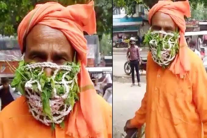 नीम और तुलसी का मास्क पहने वृद्ध का वीडियो वायरल