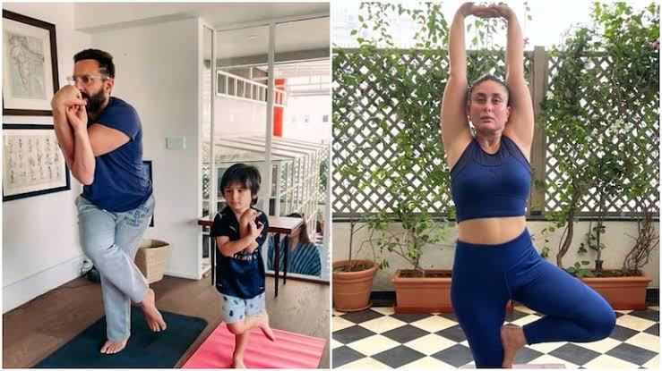 करीना कपूर के योग दिवस के इंस्टा पोस्ट, सैफ और तैमूर के साथ योग कर रहे वायरल ।